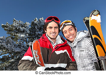 Two men on skiing trip