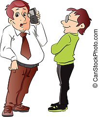 Two Men, One Using a Cellphone, illustration