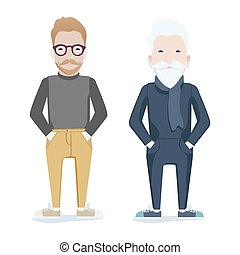 Two men, one young, one old - Two men with beards, one young...