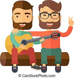 Two caucasian happy sitting on a log playing a guitar. A Contemporary style. Vector flat design illustration isolated white background. Square layout.