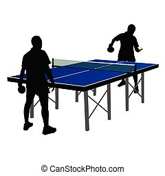 two men playing table tennis vector illustration