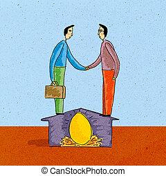 Two men shaking hands, standing on house, over nest egg