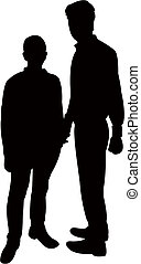 two men silhouette vector