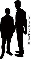 two men silhouette vector