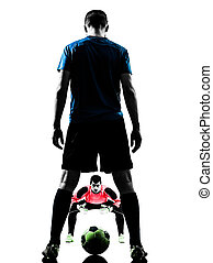 two men soccer player goalkeeper  competition silhouette