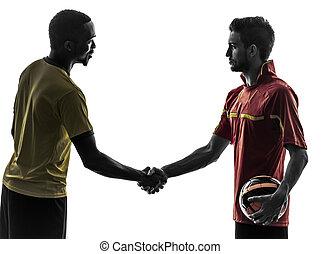 two men soccer player handshake handshaking silhouette - two...