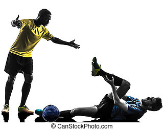 two men soccer player standing complaining foul silhouette...