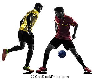 two men soccer player standing silhouette - two men soccer...