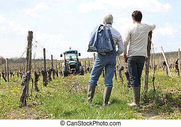 Two men stood in vineyard