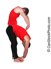 two men stretching