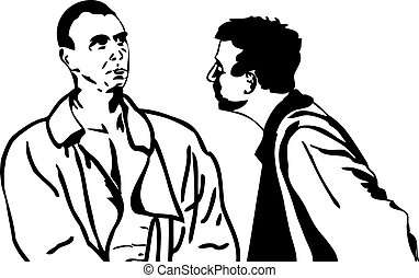 Two men talking - black and white sketch of men in...