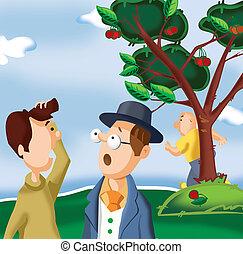 Two men talking in park
