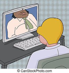 Two Men Talking Online
