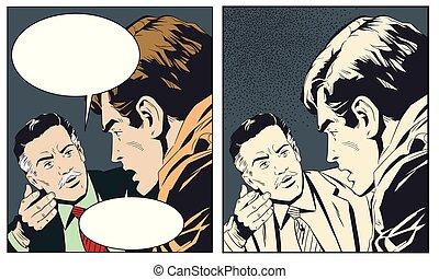 Stock illustration. Two men talking.