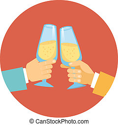 Two men toasting with champagne