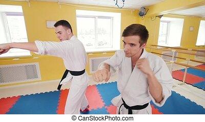 Two men training their aikido skills in the studio. Training...