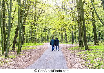 Two men walking in park