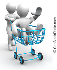Two men with consumer\'s basket. 3d