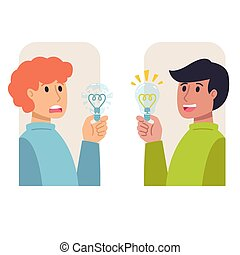 Two men with light bulbs in their hands, bad and good idea. Insight, inspiration, eureka, aha moment making decision, thinking concept. Vector flat illustration.