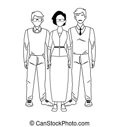 two men with old woman standing, flat design