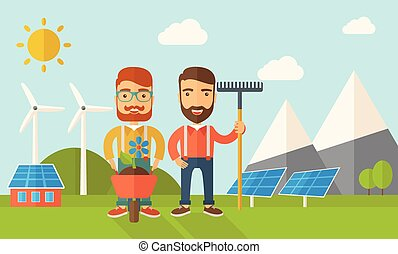 Two men with wheelbarrow and rake. - A two smiling gardener ...