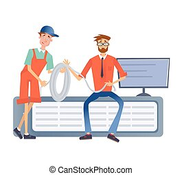 Two men working with a computer server or a render farm. Technicians in the data center. Vector illustration, isolated on white.