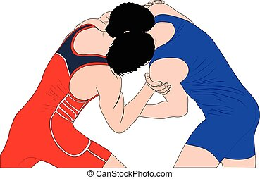 two men wrestlers in Greco-Roman wrestling at competitions....