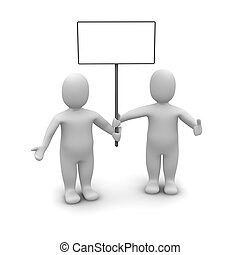 Two mens holding poster