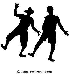Two men in hats dancing burlesque dance in the country