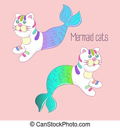 Two mermaid cats with colorful tails