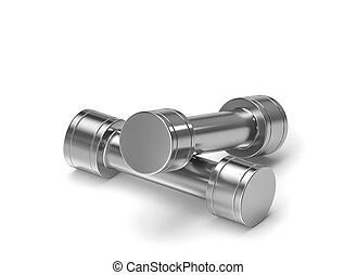 Two metal dumbbells isolated on white with clipping path
