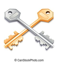 Two metal keys isolated on white background. Vector illustration.