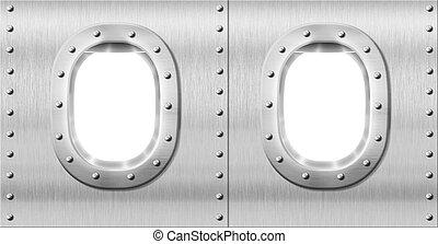 two metal portholes or windows
