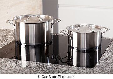 Two metal pots on induction hob