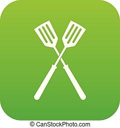 Two metal spatulas icon digital green