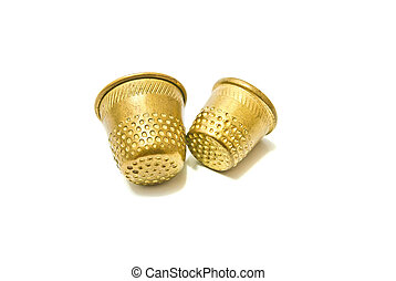 two metal thimbles