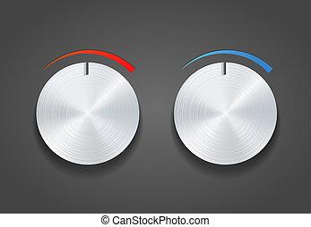 Two Metal vector knob on grey