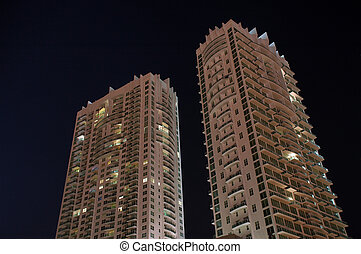 Two Miami High Rise Condos at Night