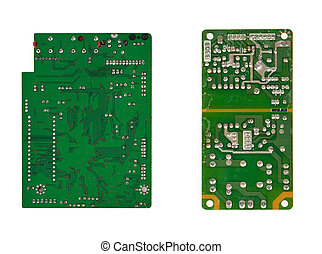 Two microcircuits. Isolated on the white background