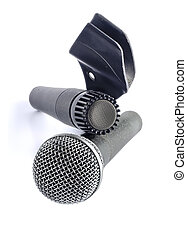 Two microphones isolated on white background