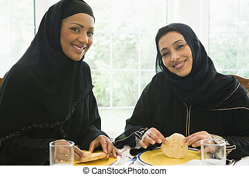 Two Middle Eastern women enjoying a meal