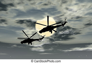 Two military helicopters flying combat against the sky,...