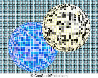 Two mirror balls