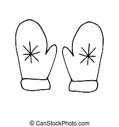 two mittens with snowflacke. hand drawn graphics simple scandinavian style