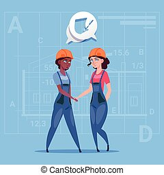 Two Mix Race Female Builders Shaking Hands Agreement Concept Cartoon Business Women Cooperation