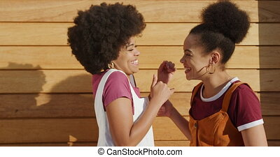 Two mixed race women hugging - Side view of two mixed race ...