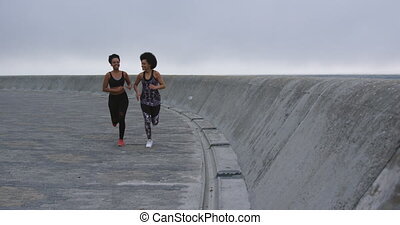 Two mixed race women running on docks - Front view of two ...