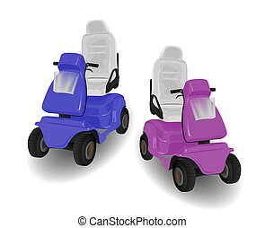 Two Mobility Scooter Illustrations Pink and Blue on White