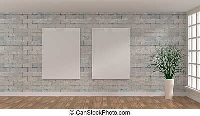 Two Mock up poster in a bright room