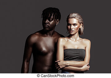 Two models posing together for social diversity campaign